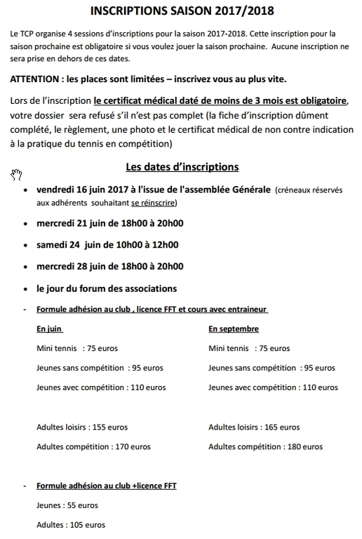 Inscription Saison 2017/2018